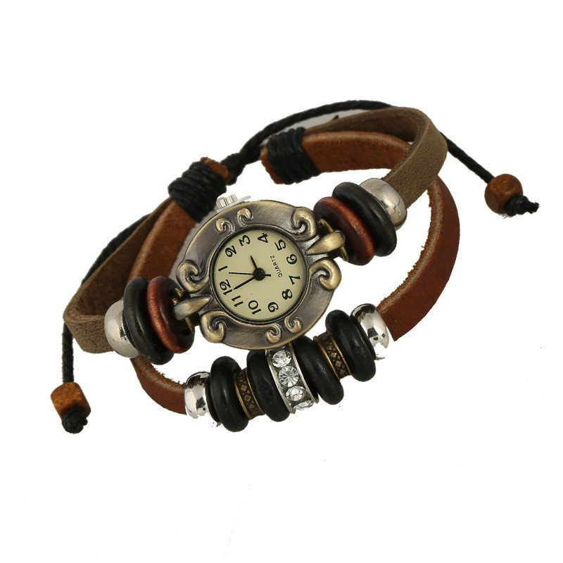 Beautiful Leather Wrap Bracelet Quartz Watch (Diamante Design)