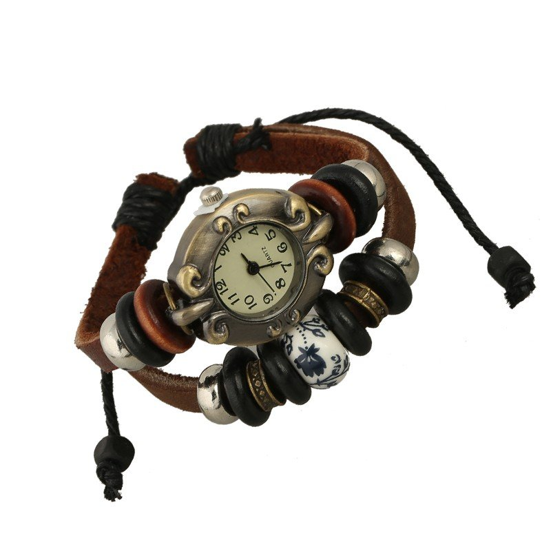 Beautiful Leather Wrap Bracelet Quartz Watch (Floral China Design)