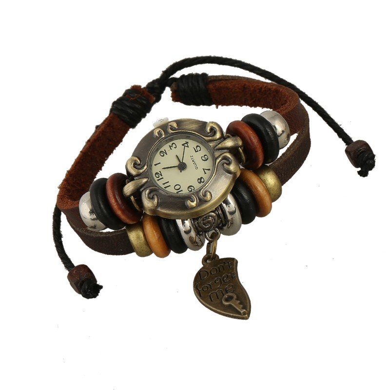Beautiful Leather Wrap Bracelet Quartz Watch (Dont Forget Me Design)