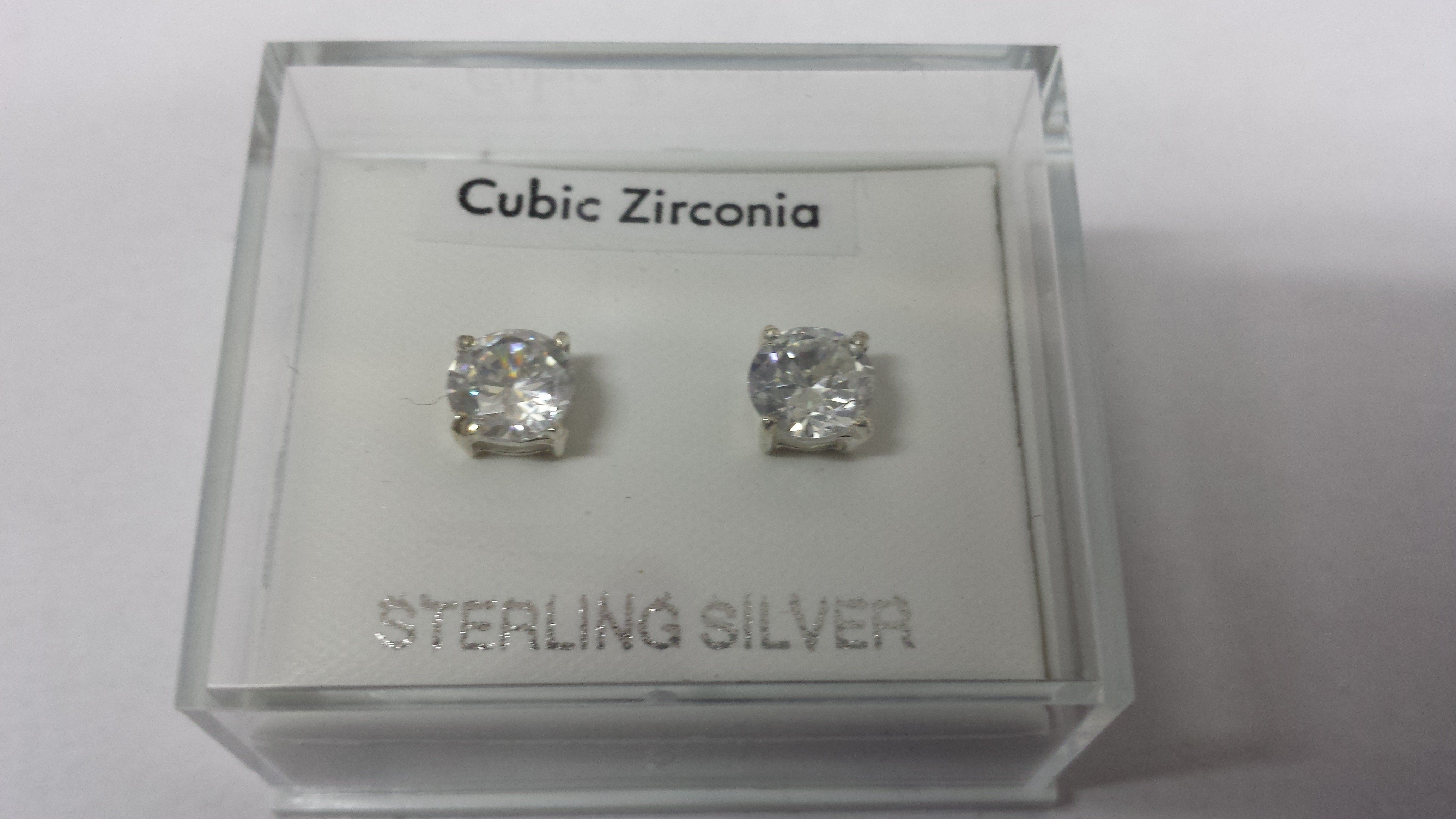 Pair of 6mm Round Sterling Silver Cubic Zirconia Studs (170)