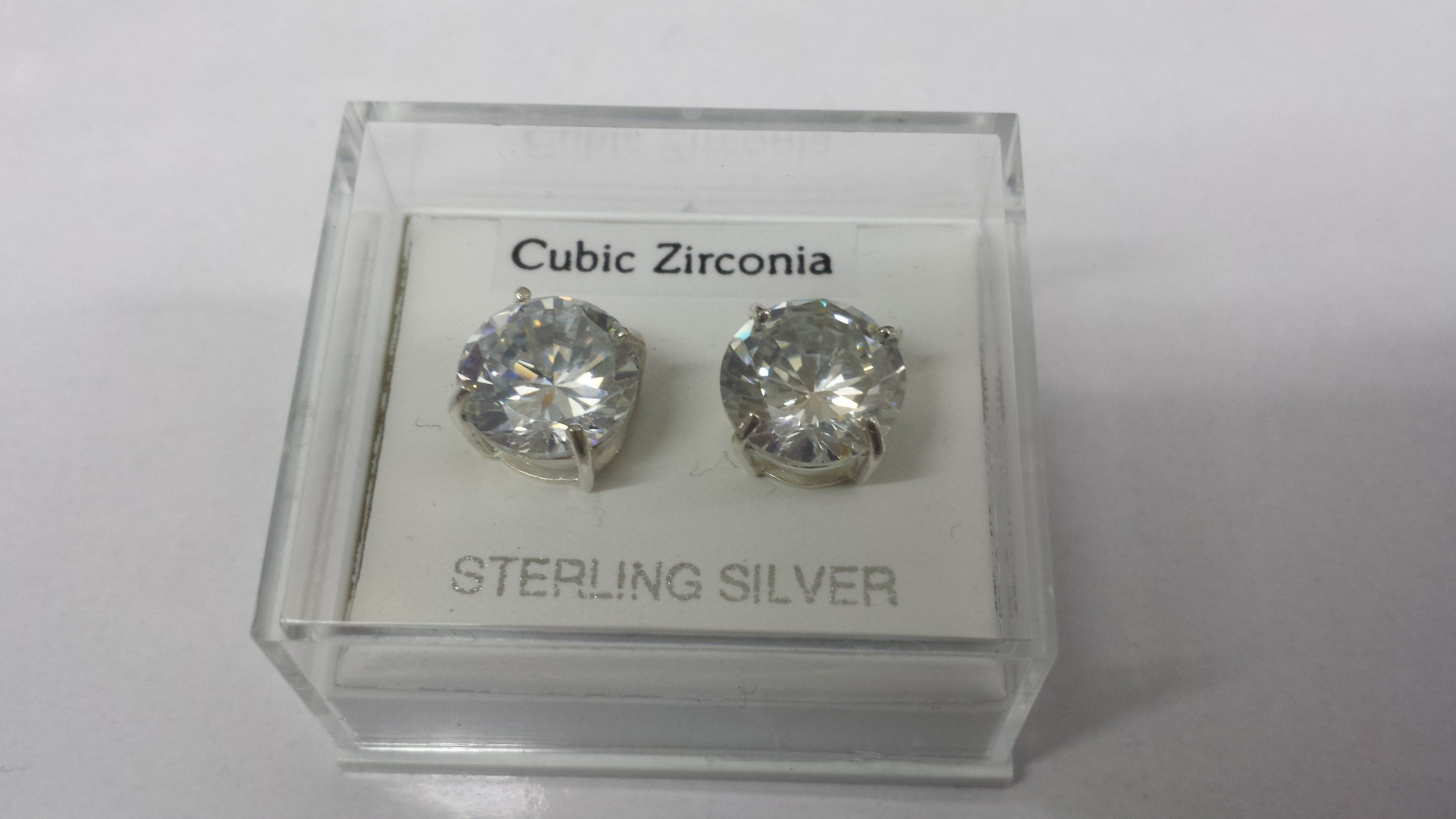 Pair of 10mm Round Sterling Silver Cubic Zirconia Studs (172)