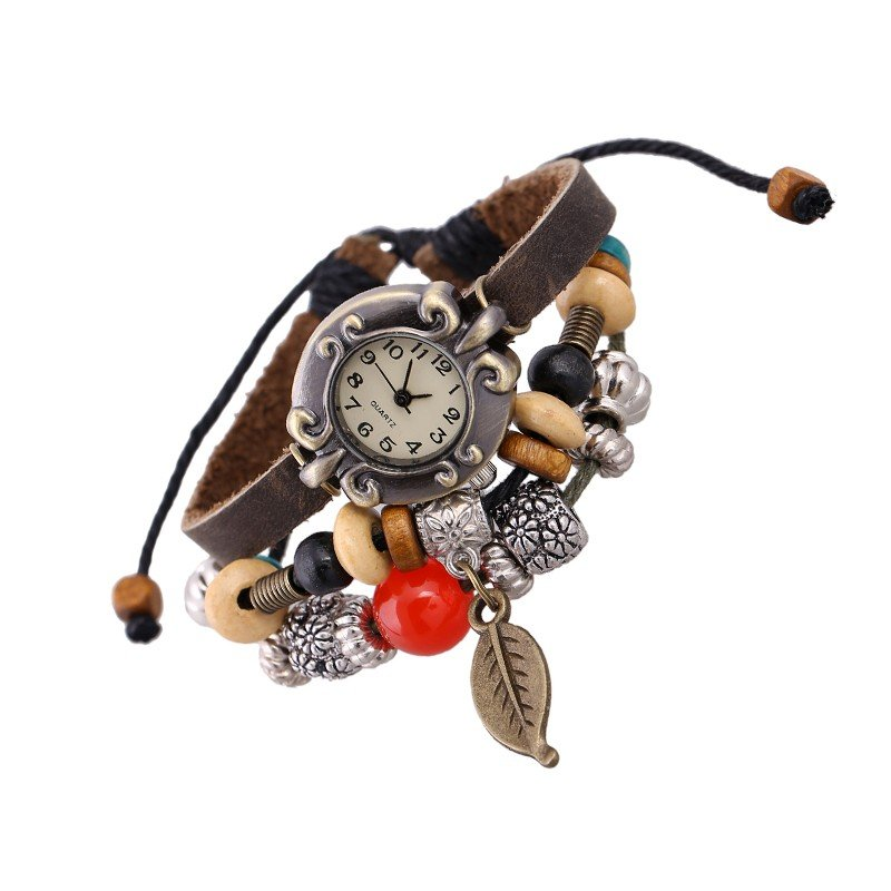 Beautiful Leather Wrap Bracelet Quartz Watch (Bronze Leaf Design)
