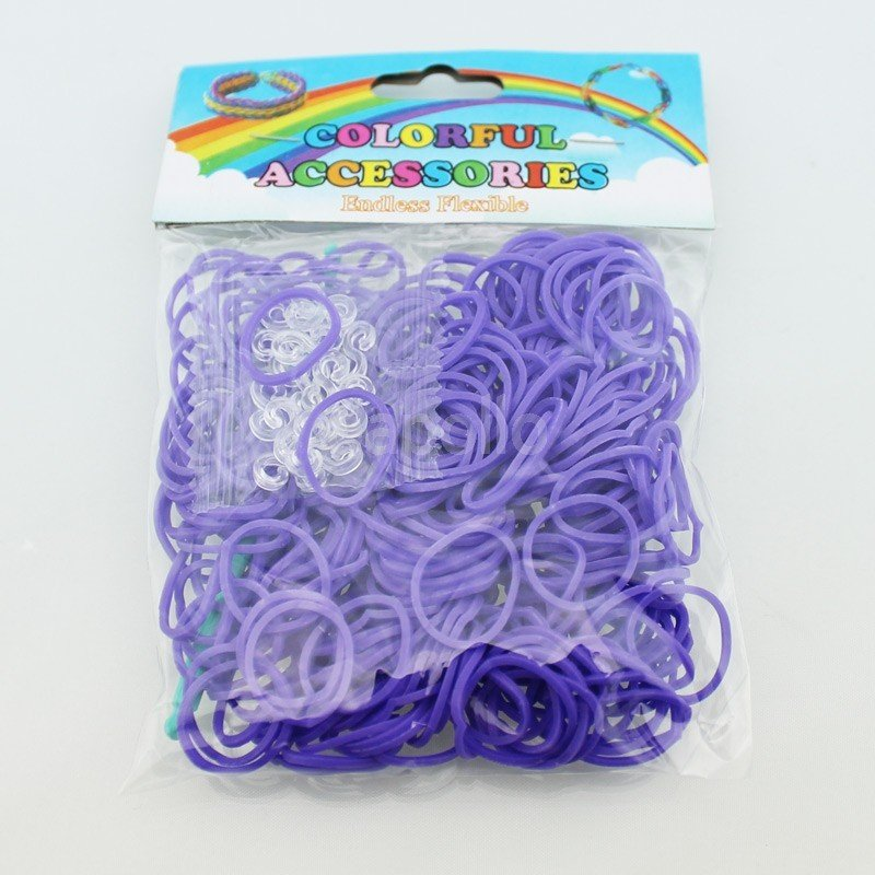 Colourful Loom Bands (Purple Block Colour) 12 Packs