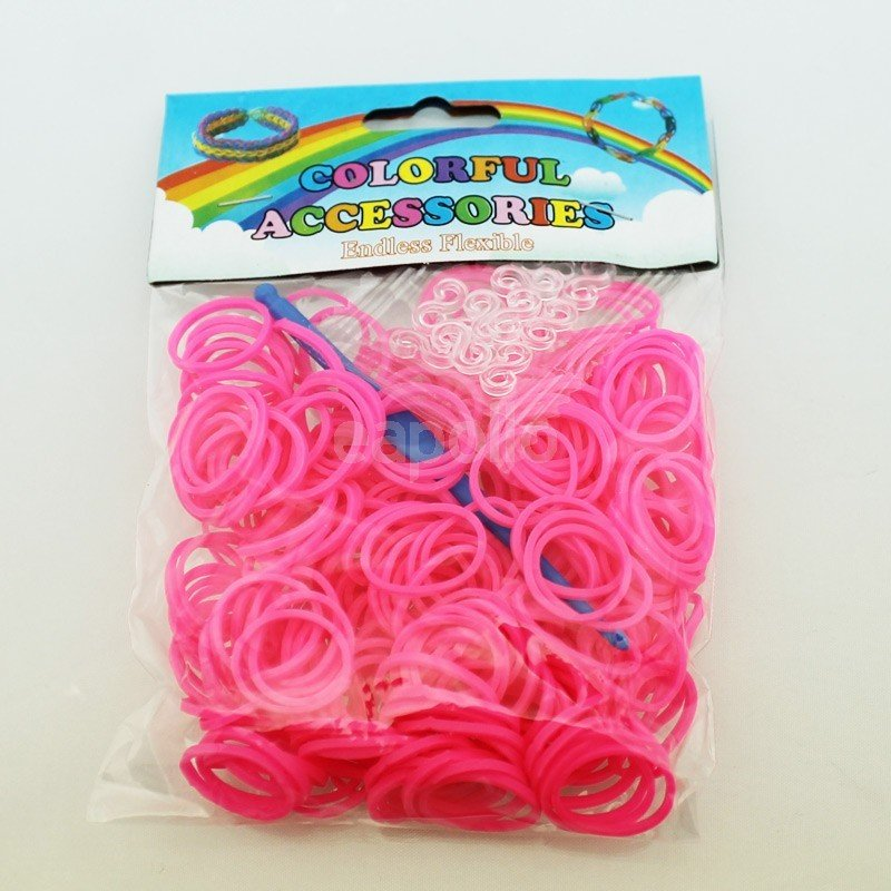 Colourful Loom Bands Neon Pink Block 300's 12 Packs