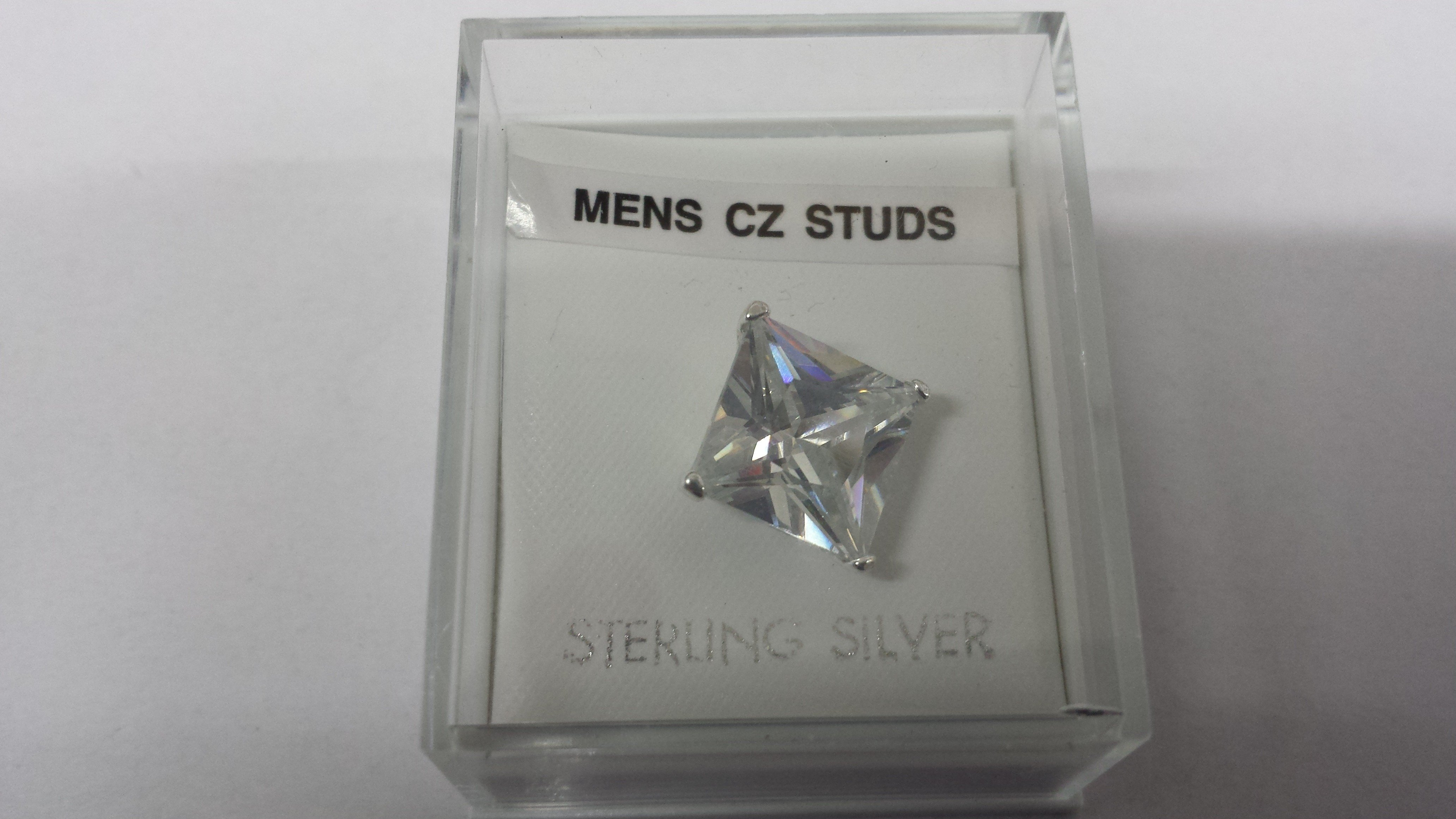 Men's 10mm Square Sterling Silver Cubic Zirconia Stud (198)