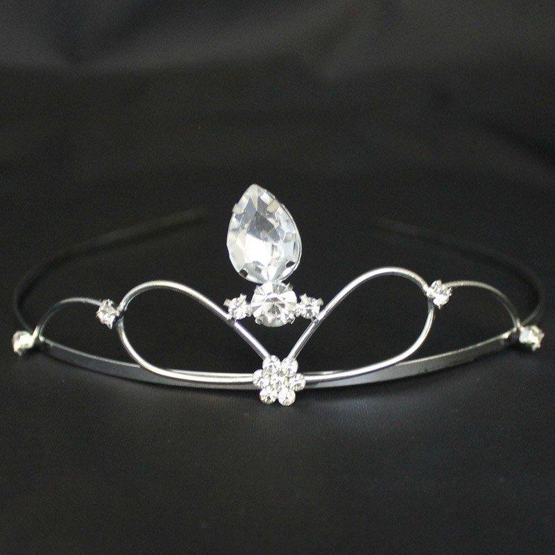 Bridal Tiara - Silver With Big Diamond (T2169)
