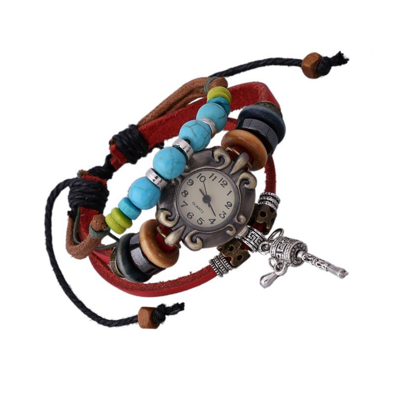 Beautiful Leather Wrap Bracelet Quartz Watch (Shaker Design)