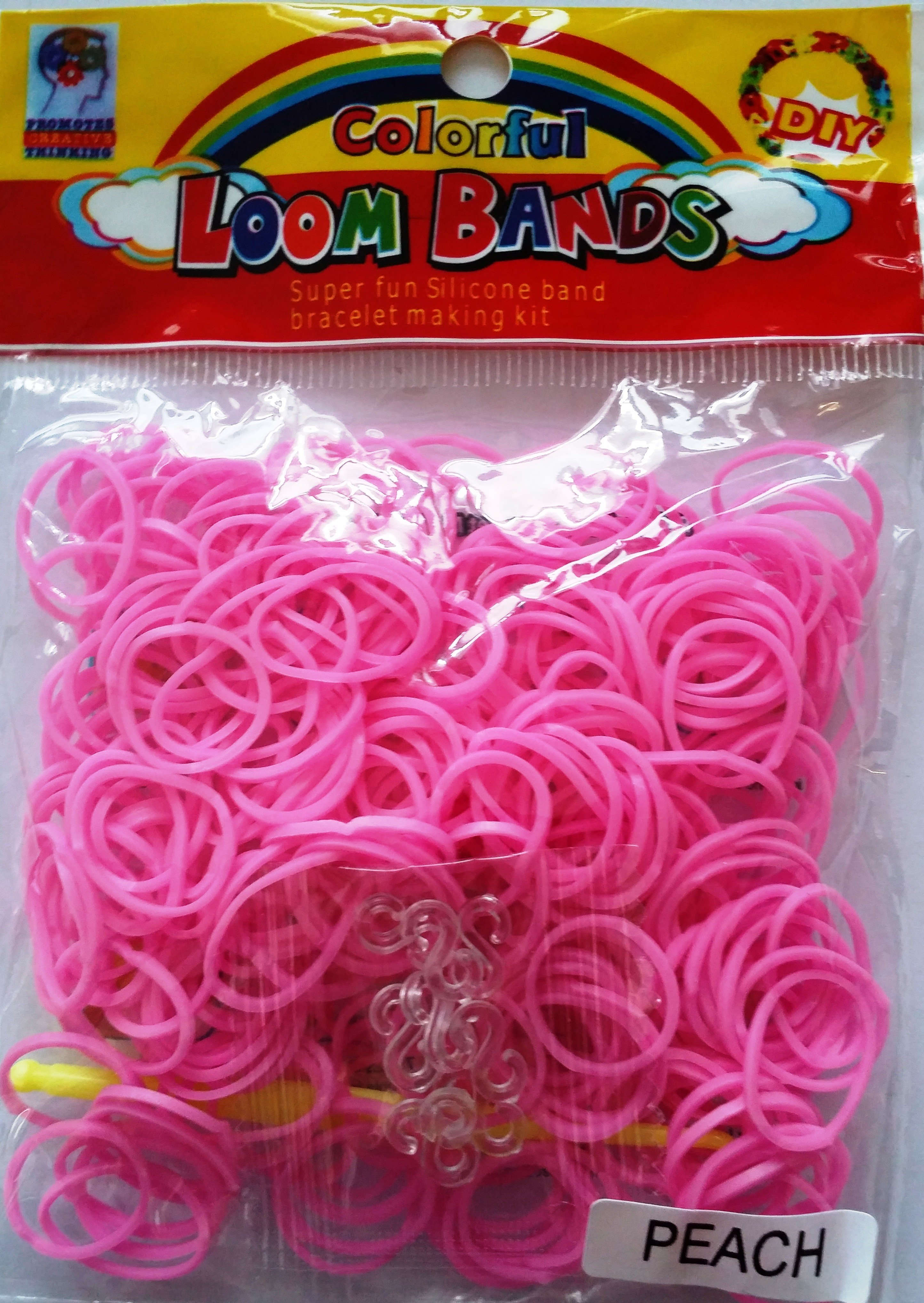 Colourful Loom Bands Soft Pink Peach Colour (Peach Scented 300s) 12 Packs