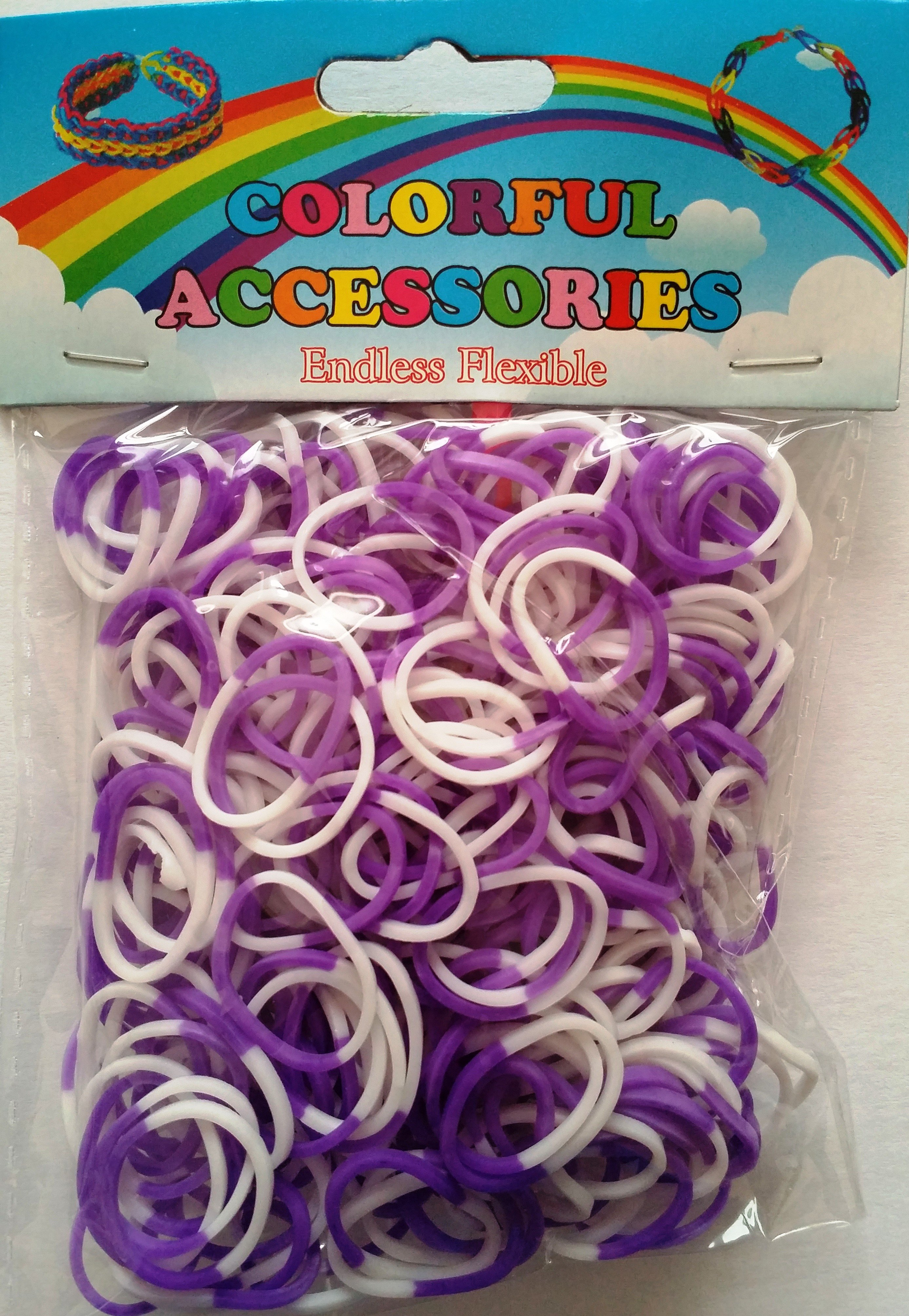 NEW 2 Tone Loom Bands- (Purple And White) 300s x 12 Packs