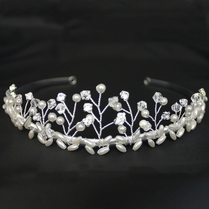 Bridal Tiara Diamond & Pearl - Silver 40421