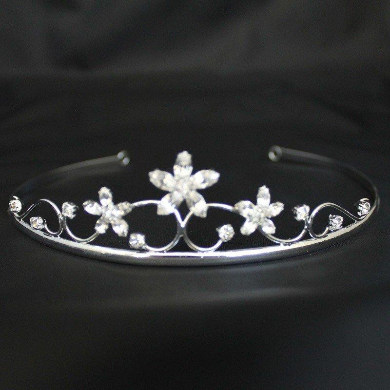 Bridal Tiara - Diamond Flowers -Silver (GS40302)