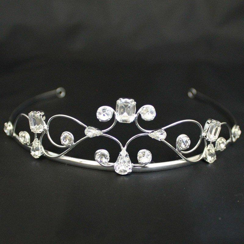 Bridal Tiara Plaited Diamonds - Silver (40403)