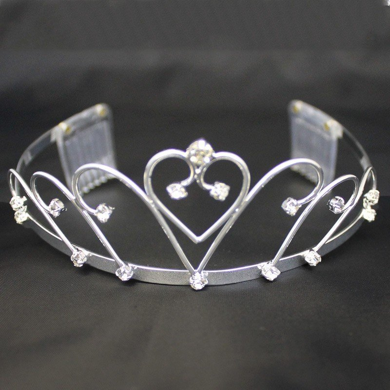Bridal Tiara With Comb Heart & Crystal Stones - Silver (GS40438)