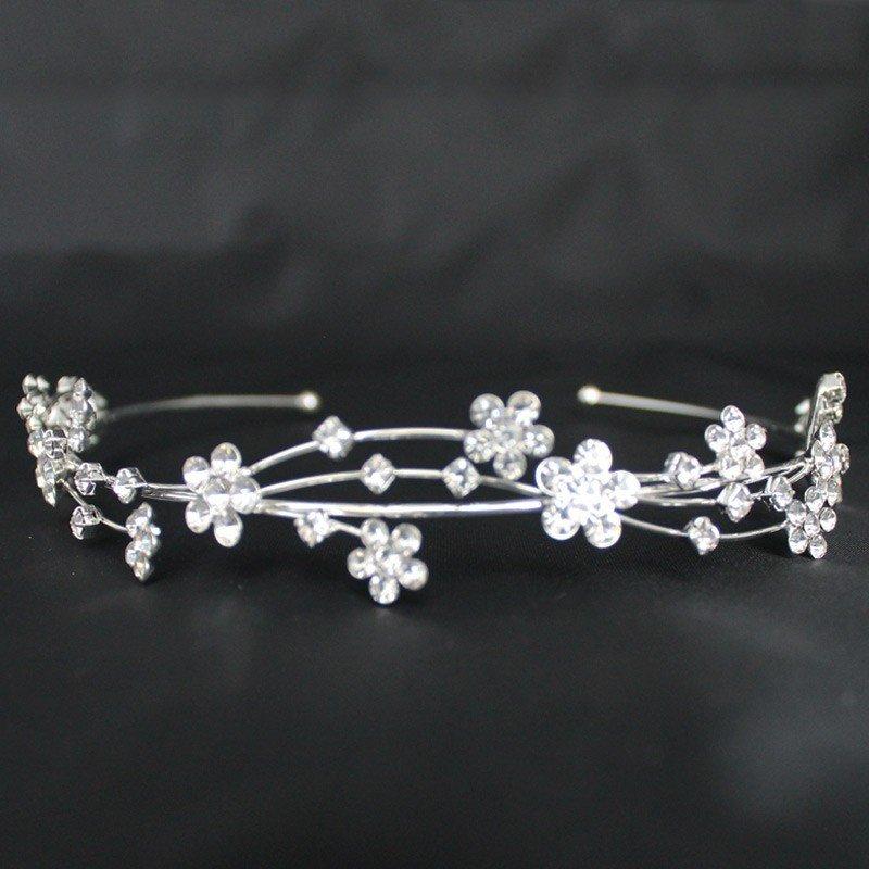 Bridal Tiara Diamond Flowers - Silver (GS21151)