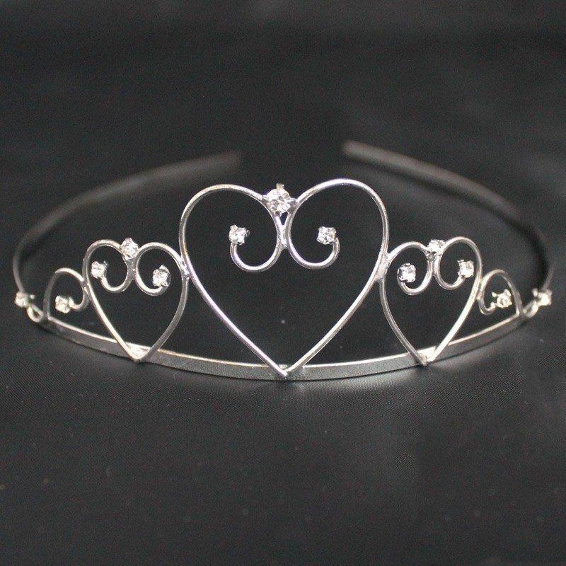 Bridal Tiara Heart Design - Silver (T2167)