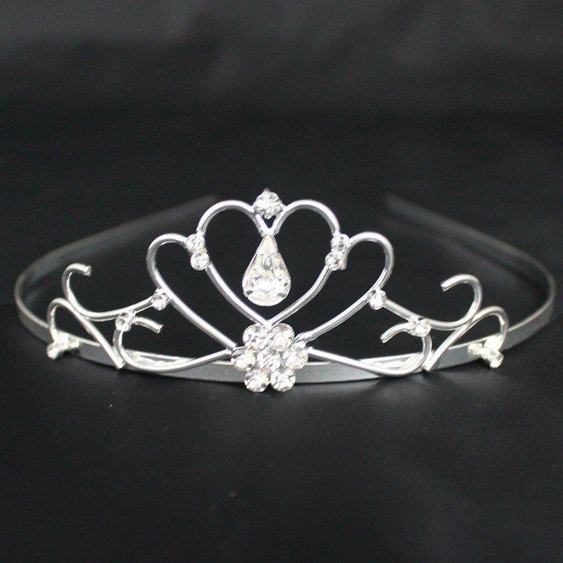Bridal Tiara Diamond Tear- Silver (T5473)