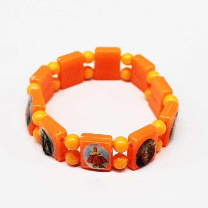 Rosary Type Bracelets - Orange Neon