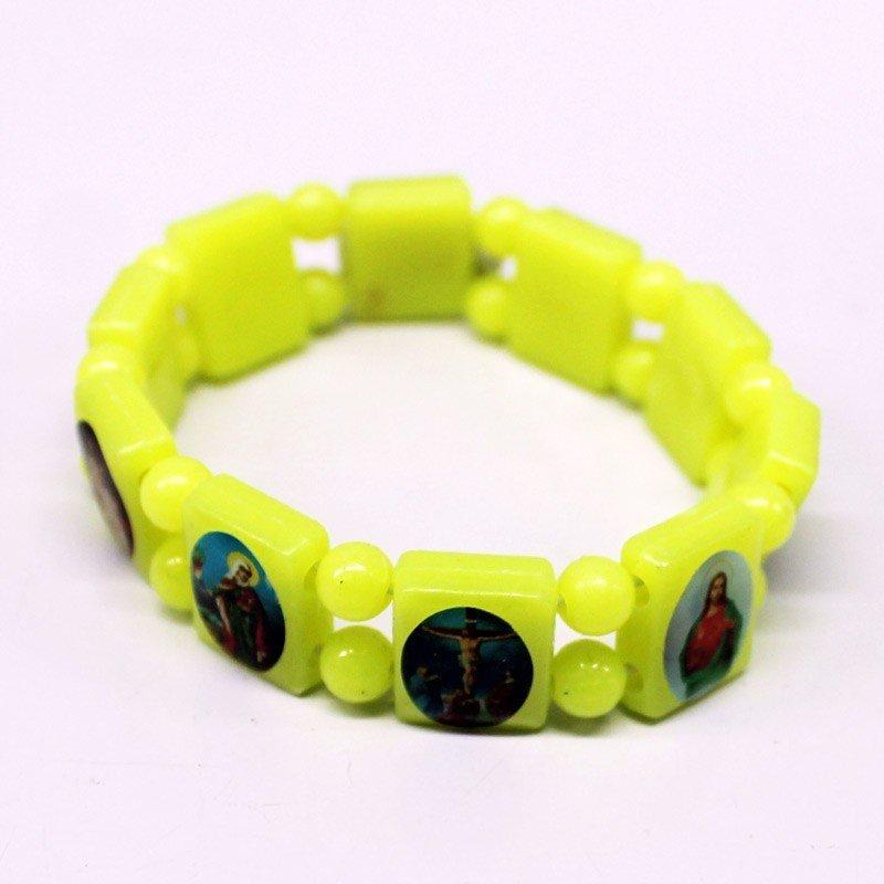 Rosary Type Bracelets - Yellow Neon