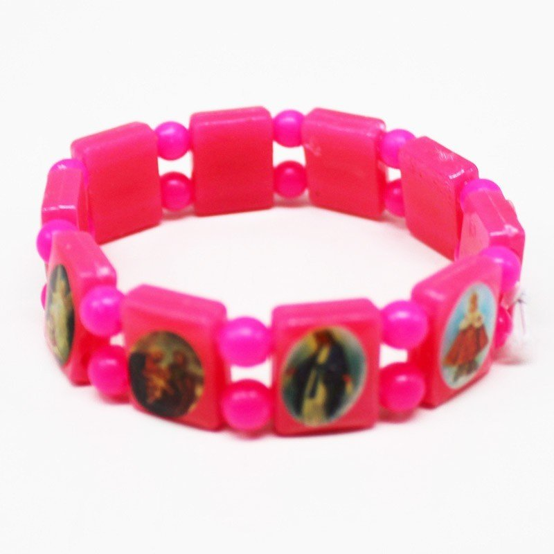 Rosary Type Bracelets - Pink Neon Colours
