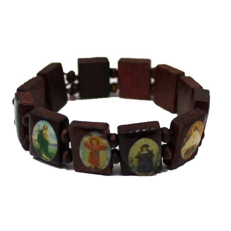 Rosary Type Bracelet - Jesus & Saints - Brown