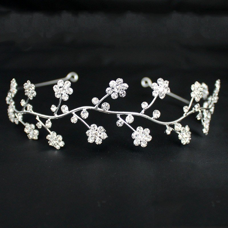 Bridal Tiara Crystal Flowers Design - Silver (40426)