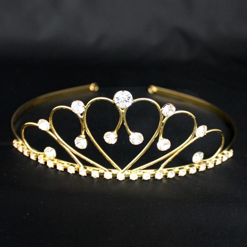 Bridal Tiara Heart & Diamond- Gold (30134)