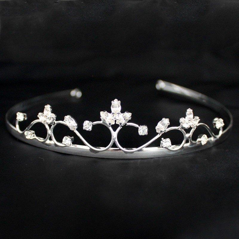 Bridal Tiara - Silver & White Diamond
