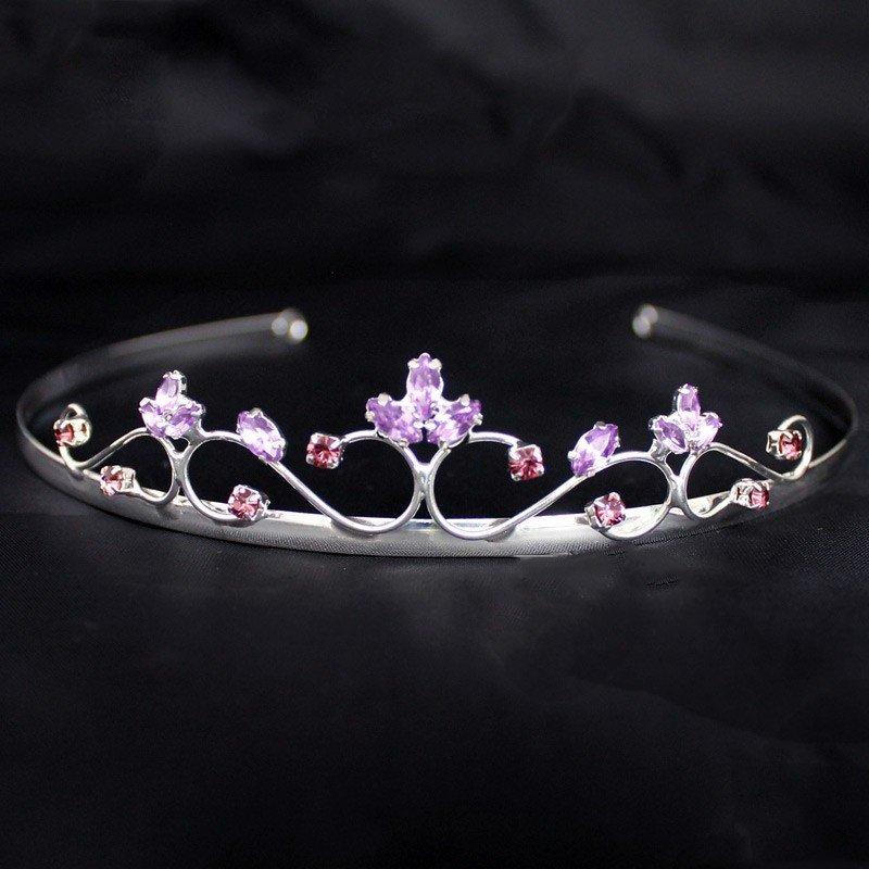 Bridal Silver Tiara- Purple Diamond