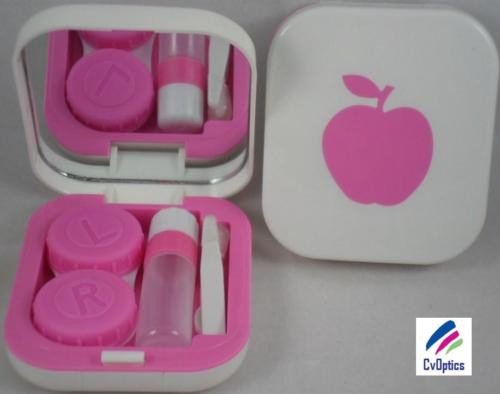 Pink Apple Contact Lens Travel Kit With Mirror