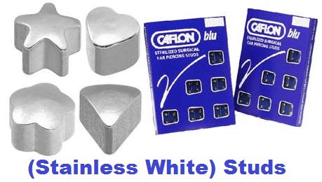 Pack Of 12 Caflon Assorted Shape Ear Piercing Studs - Stainless White Regular