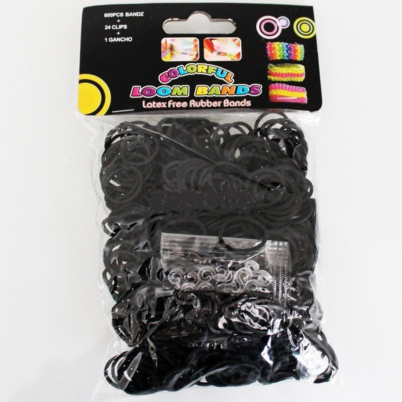 Colourful Loom Bands (Black Block Colour) 12 Packs