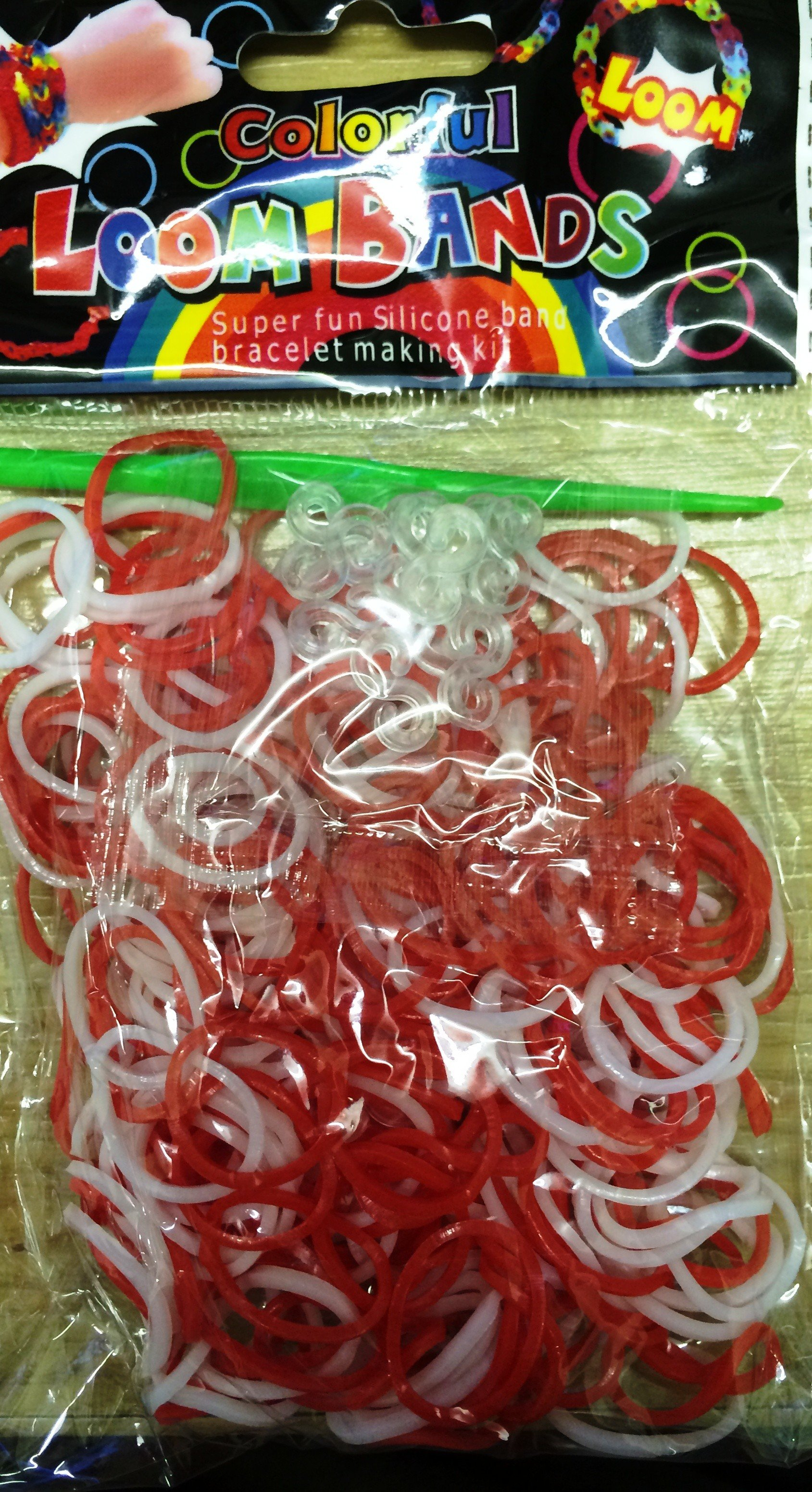 Colourful Loom Bands England Flag Red White 300's 12 Packs