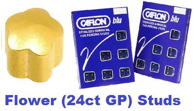 Pack Of 12 Caflon Flower Shaped Ear Piercing Studs - 24ct Regular