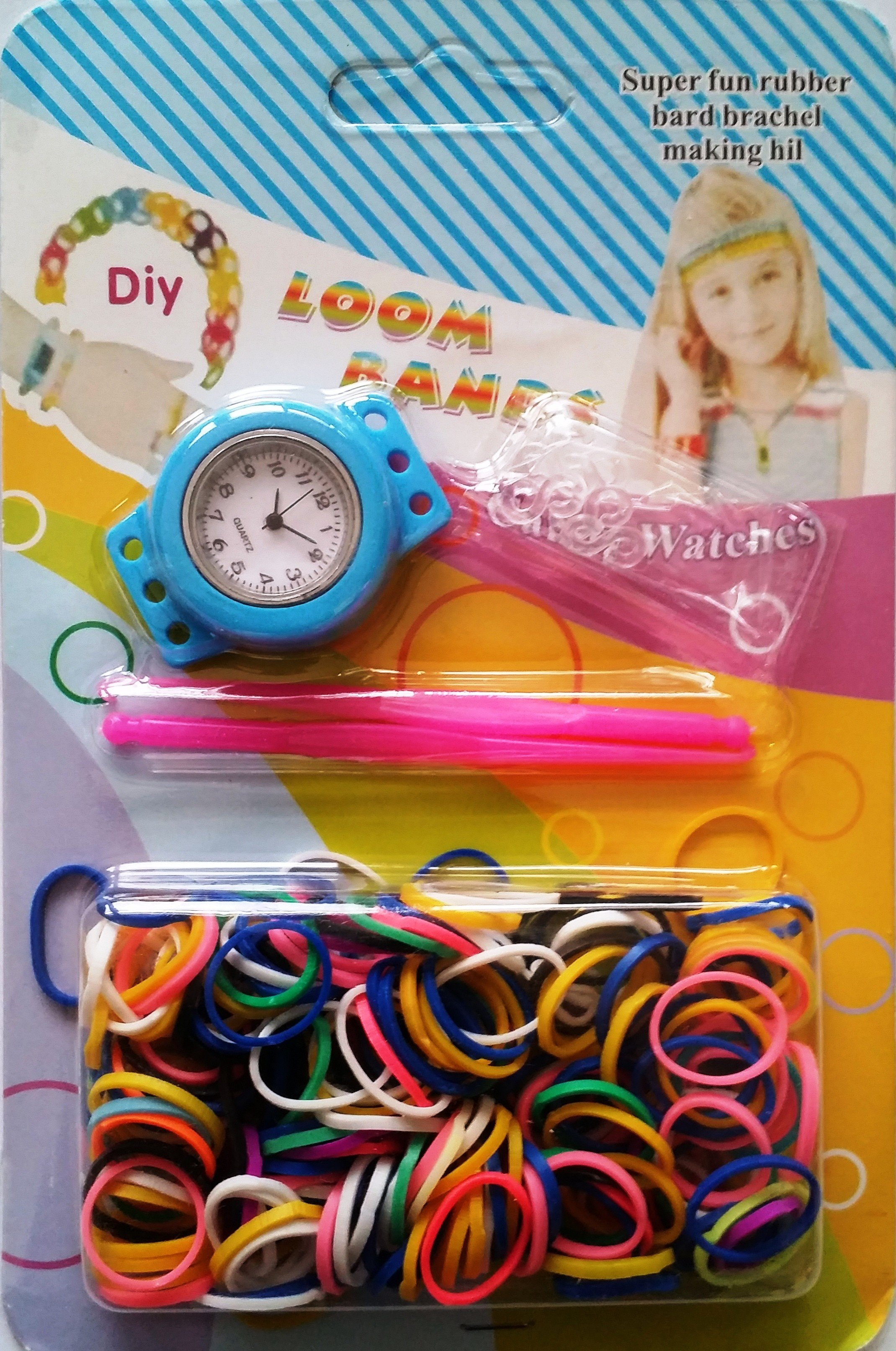 4 x New Loom Band Watch DIY Kit With Loom Bands S Clips Tool And Watch
