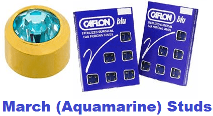 Pack Of 12 Caflon Mini Birthstones March (Aquamarine) Ear Piercing Studs - 24ct