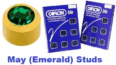 Pack Of 12 Caflon Mini Birthstones May (Emerald) Ear Piercing Studs - 24ct
