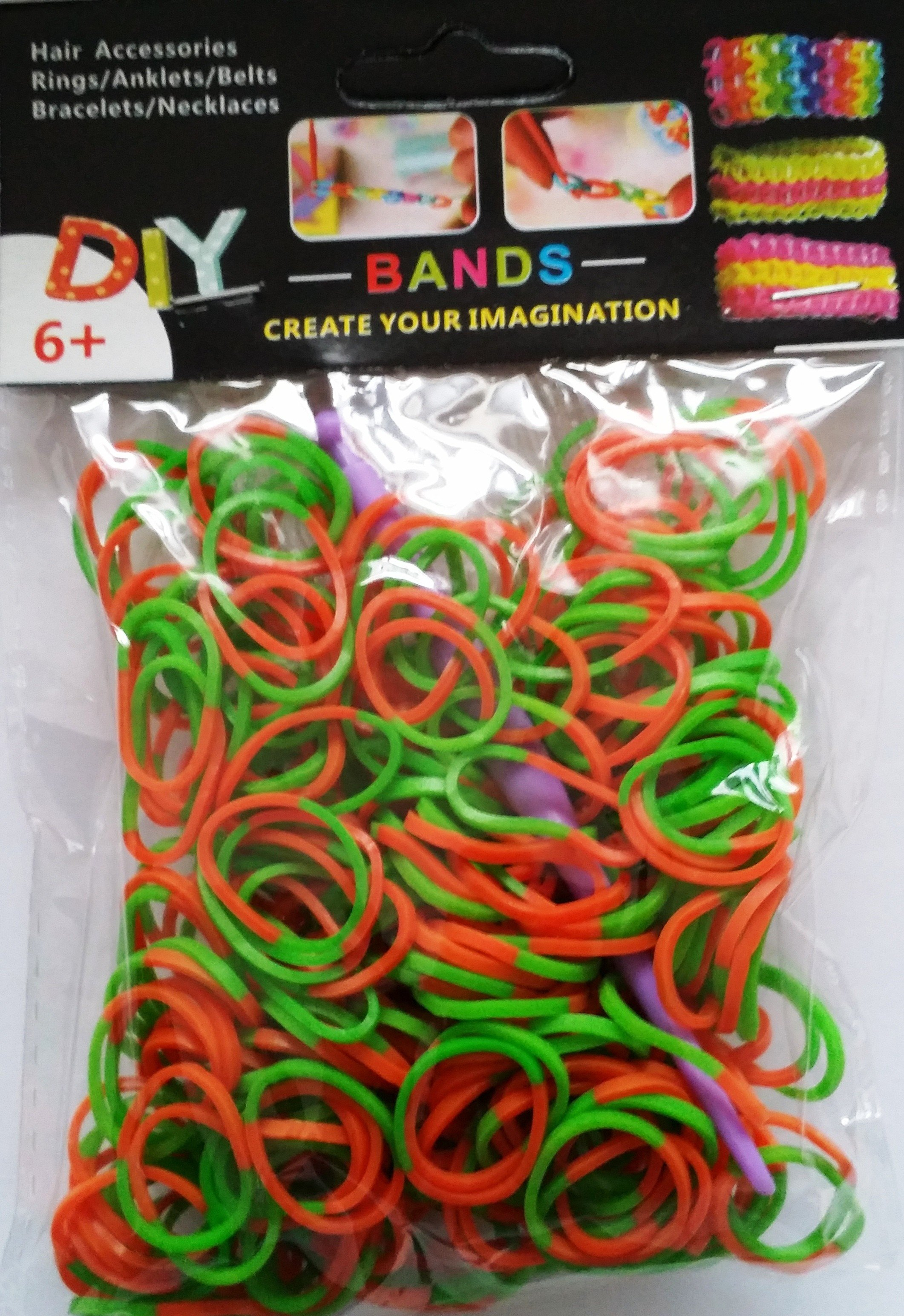 NEW 2 Tone Loom Bands- (Orange And Green) 300s x 12 Packs
