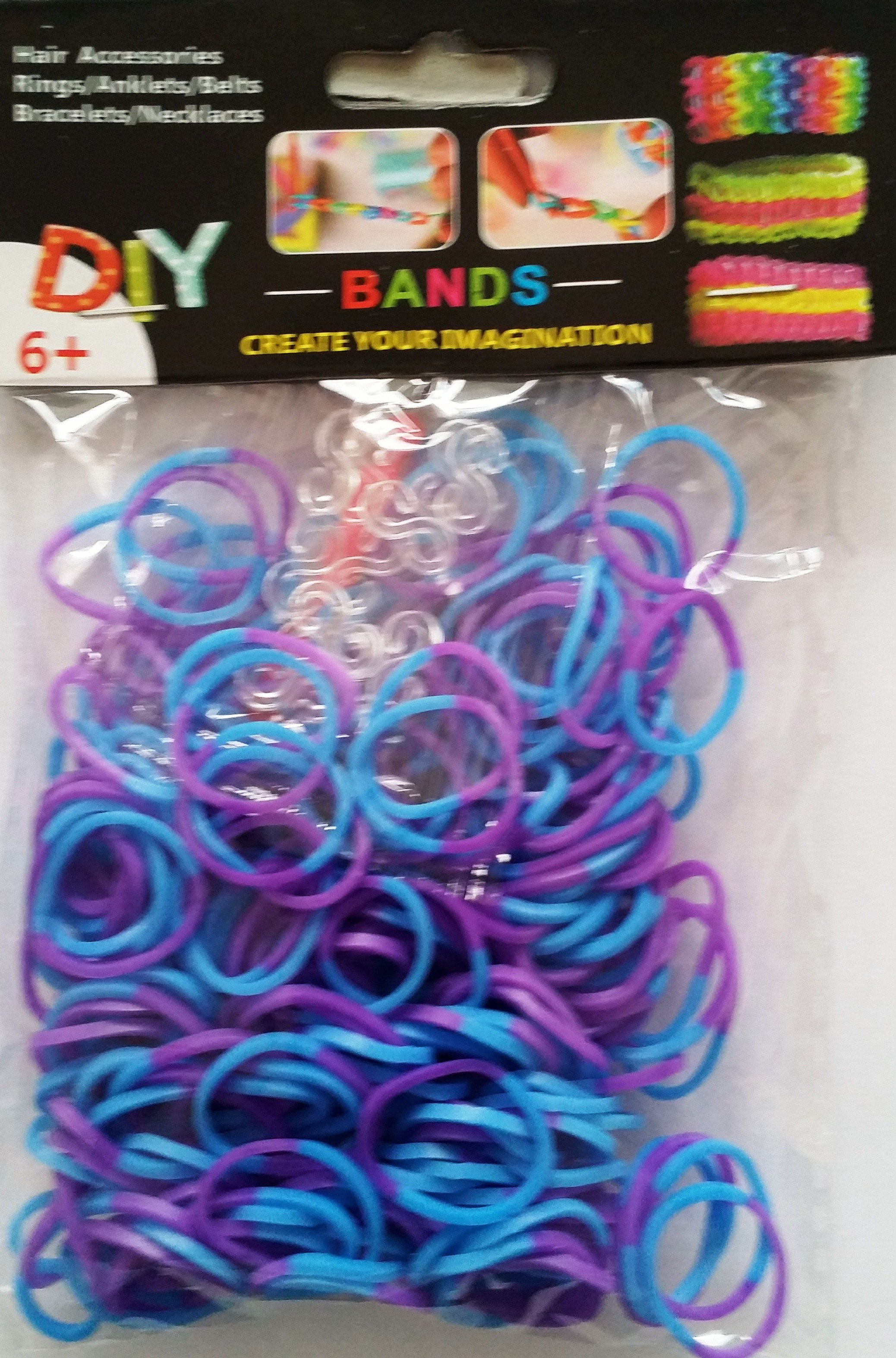 NEW 2 Tone Loom Bands- (Purple And Blue) 300s x 12 Packs