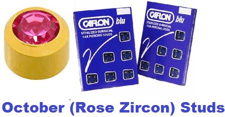 Pack Of 12 Caflon Mini Birthstones October (Rose Zircon) Ear Piercing Studs - 24ct