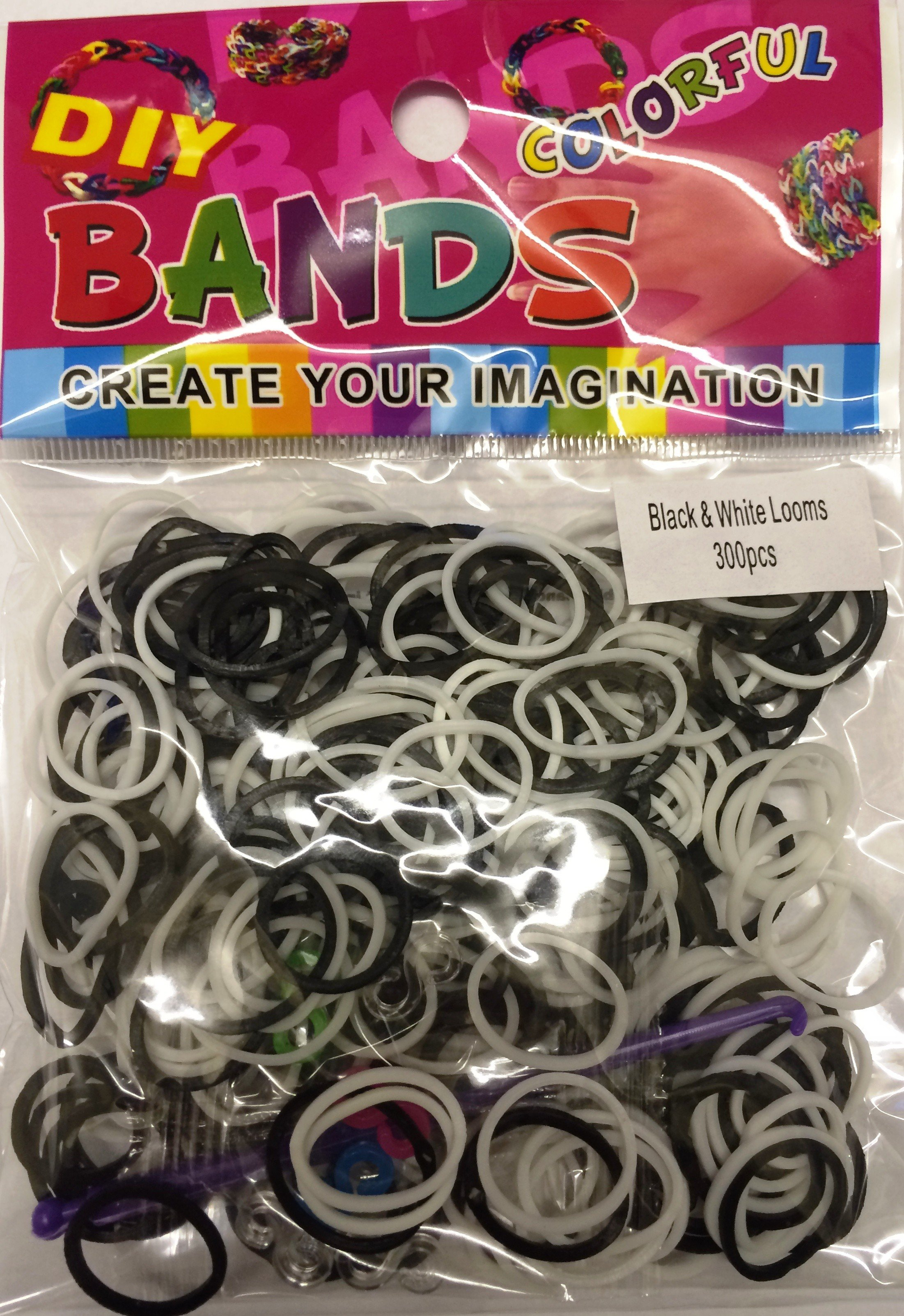 Colourful Loom Bands (Black And White Mix 300s) 12 Packs