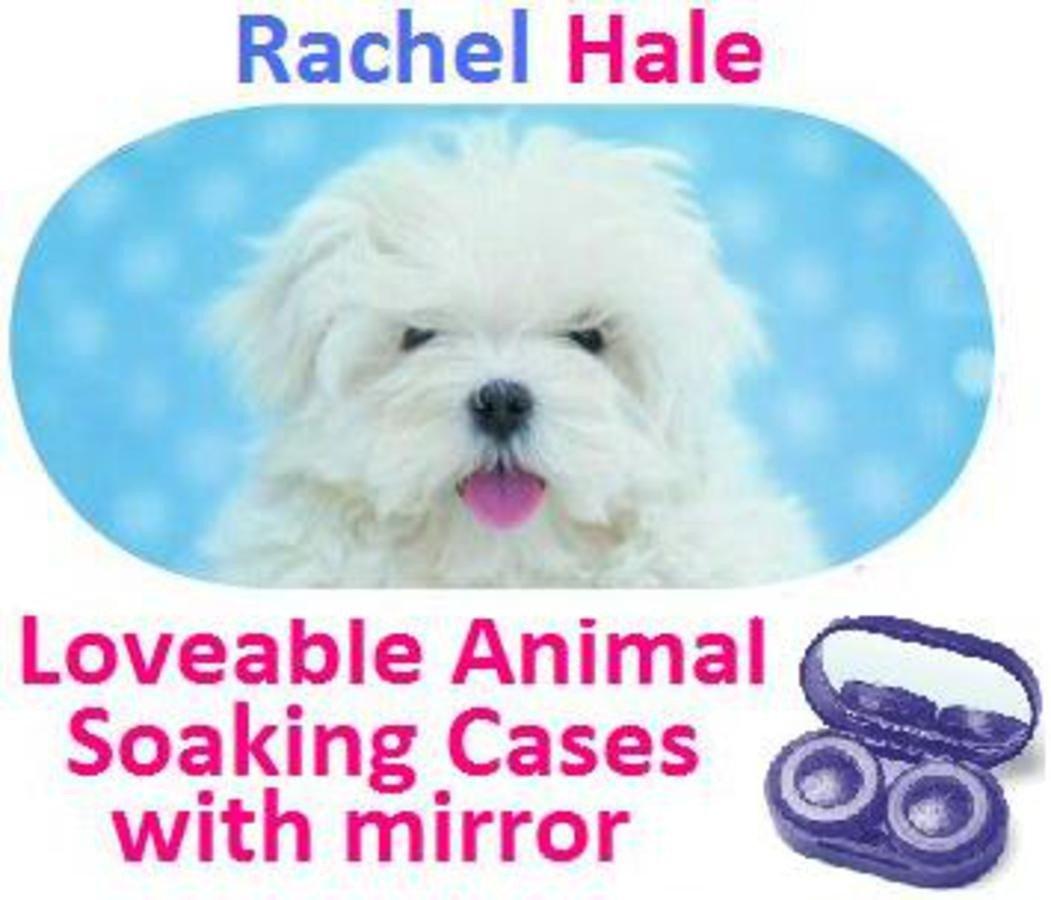 White Puppy Rachel Hale Contact Lens Soaking Case