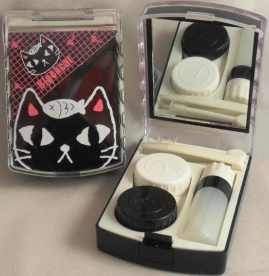 Black Cat Contact Lens Storage Soaking Travel Kit