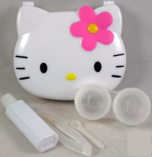White Hello Kitty Contact Lens Storage Soaking Travel Kit