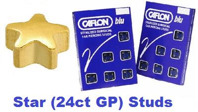 Pack Of 12 Caflon Star Shaped Ear Piercing Studs - 24ct Regular