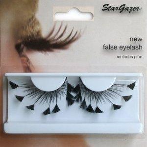 Stargazer Reusable False Eyelashes Angled Black Feathers 60
