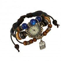 Beautiful Leather Wrap Bracelet Quartz Watch (Baseball Cap Design)