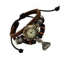 Beautiful Leather Wrap Bracelet Quartz Watch (Buddah Design)