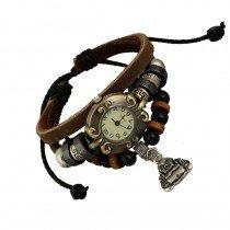 Beautiful Leather Wrap Bracelet Quartz Watch (Buddah Design)