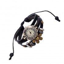 Beautiful Leather Wrap Bracelet Quartz Watch (Daisy Design)