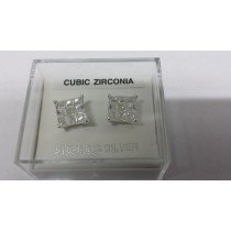 Pair of 9mm Square Sterling Silver Cubic Zirconia Table Design Studs (135)